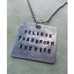 Hand Stamped Hitch Fit Pendant: Believe - Transform - Inspire