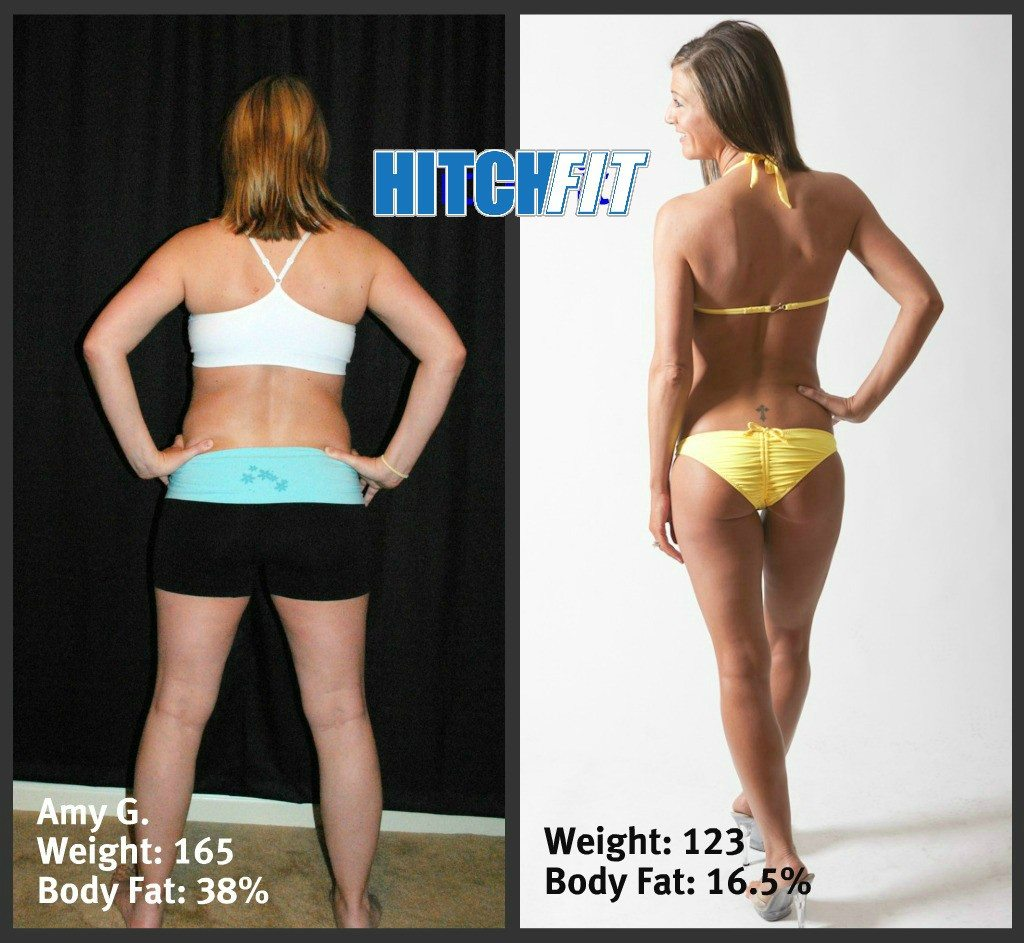 Before and After Back Photos after losing 40 pounds Post Baby!