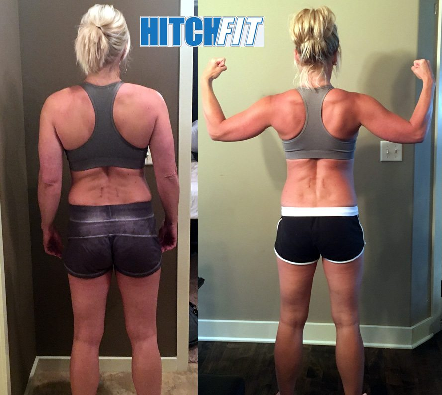 Female Weight Loss - Before and After Back photos of mom who lost 10% body fat