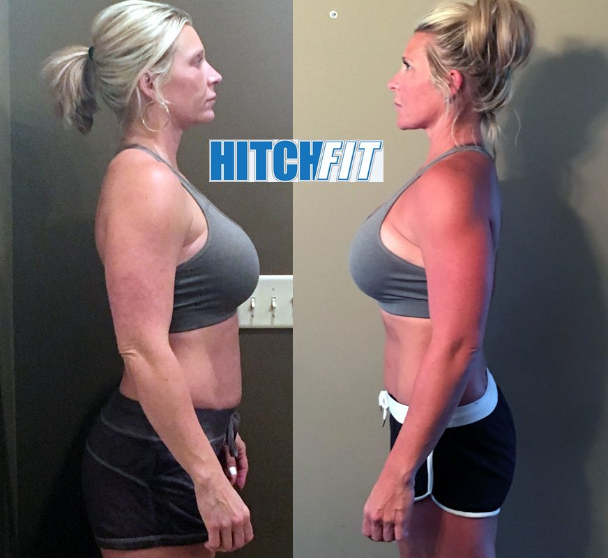 Female weight loss - Mom of 5 Before and After losing 10% body fat